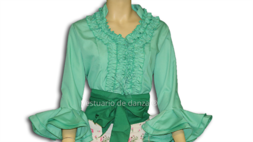 Camisa Flamenca color Verde Agua